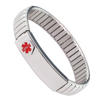 medical id - Stock in USA elastic L stainless steel mens medical alert id bracelet steel