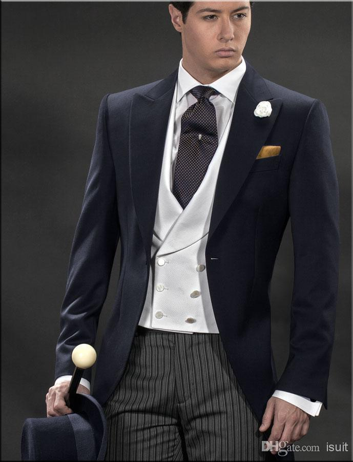 Custom Made Navy Blue One Button Groom Tuxedos Striped Trouser ...