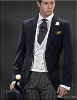 Custom Made Navy Blue One Button Groom Tuxedos Striped Trous...