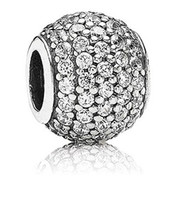 Wholesale Genuine Cubic Zircon Paved Sterling Silver Round Charm European Bead