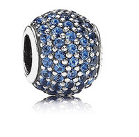 Cheap Sparkling Cubic Zircon Paved 925 Sterling Silver Round Charm European Bead For Pandora Bracelet
