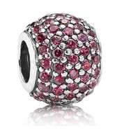 Wholesale Big Hole Charms Cubic Zircon Paved Sterling Silver Round Charm European Bead