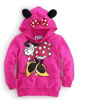 Cheap New girls longsleeve fashion coats 2014 winter minnie mouse cartoon thicken hoodies outwear girl's clothing 2-7Y children's sweatshirts