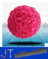 Wholesale 50 Rose Pink Kissing Ball Pomander Wedding Decorations Flower Pew Bows HSA0770