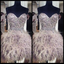 Wholesale Cheap Homecoming Dresses With Feathers Cute Sweetheart Neck Strapless Short Graduation Dress Beading Bodice Cocktail Gowns New Arrival GM