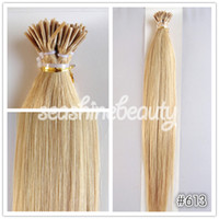 Cheap 100% Brazilian Virgin Human Hair Keratin Hair #613 Blonde Color I-Tip Hair Extension Pre-bonded Stick hair 1g strand 300g lot 6A Grade