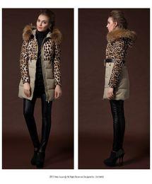 Wholesale 100 Raccoon Fur Collar Duck r down jacket Women s leopard print coat Medium long Jacket for winter coat Y258