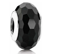Glass Black Round Sterling Silver Black Faceted Murano Glass Bead Summer Women Jewelry For Pandora