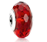 Glass glass beads - Red Color Sterling Silver Faceted Murano Glass Bead For Women for pandora