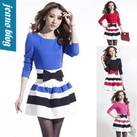 Cheap new spring 2014 Long Sleeve Dresses Women casual dress Slim Sexy women clothing winter patchwork sweater vintage dress BB 8528