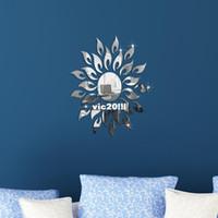 Cheap Sun flower!Mirror effect ring wall clock Modern design,3D interior decoration living room,wall watches,Free shipping!