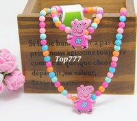Wholesale Mamma mia Retail New Baby Clothing accessories Peppa pig necklace bracelet Color windmill pig PP06
