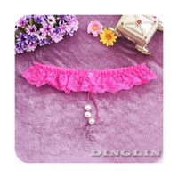 Wholesale 2014 New Womens Ladies Lace Bead Low Rice Sexy Underwear Panties Knickers Briefs Lingerie Thong G string NY044