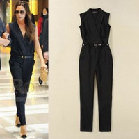 Wholesale Women Fashion Elegant Jumpsuits And Rompers High Street Jumpsuit Victoria Beckham Slim Sleeveless Black Jumpsuit Pants Overalls With Belt