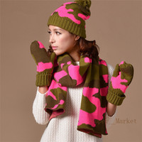 Wholesale Factory Supply sets lotNew Arrival lset Winter Fashion Camouflage Cashmere Hat Scarf Gloves with Wool Knitting