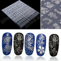 flower nail - one sheet Silver D Flower Nail Art Stickers Decals Decorations Hot stamping SV005056