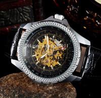Prezzi Maglia cielo giallo-Orologi JARAGAR orologio meccanico automatico scheletro cavo d'acciaio analogico Caso Sport degli orologi di marca di lusso in pelle nera
