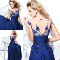 Wholesale Sheer Cheap In Stock Beach Prom Dresses Jewel Appliques Sequined Royal Blue Real Image Chiffon Evening Gowns