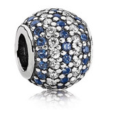 Wholesale 3 Colors Option Sterling Silver Striped Pave Cubic Zirconia Charm Pandora Style Bead Present