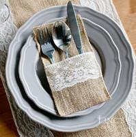 pails - Vintage Jute Burlap Lace Cutlery Holder Pouch Rustic Wedding Party Tableware Decoration Favor