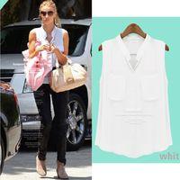 Cheap New 2014 V neck Pocket Dudalina White Chiffon Camisas Blusas Femininas Women