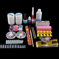 Cheap [Coins Cart] Full Buffer Brush French Nail Art UV Gel Acrylic Glue Powder Tips Kit Set #7 wholesale