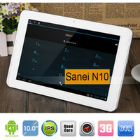 Wholesale Sanei N10 quot Quad Core Android G RAM G ROM IPS Wifi GPS Bluetooth OTG Dual Camera G WCDMA G Phone Call Tablet DHL Shipping