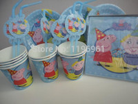 Cheap 12 kids New Peppa Pig paper party plates napkins cups straws children's birthday set peppa pig party supplies