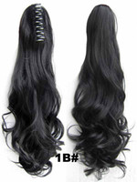 Synthetic hair Auburn Body Wave FREE SHIPPING! High Quality Easy Clip On Hair Pieces Claw Hair Ponytail Wavy 22Inches 170g Color#1B