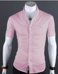 Wholesale Spring Summer New Slim Fit Men Shirt Male Short Sleeved Korean Casual Dress Shirts Fashion Cardigans