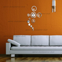 Cheap Free shipping Hot sale Home decoration Mirror effect ring wall clock Modern design 3D interior decoration living room clocks
