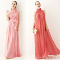 Cheap Summer Women Trendy Clothes Sleeveless Stand Collar Chiffon Pleated Sashes Casual Boho Long Maxi A-Line Dress Free Shipping 0948