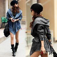 jacket hooded - 2014 New Fashion Women Lady Denim Trench Coat Hoodie Hooded Outerwear Jean Jacket Cool