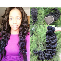 Cheap New hot Malaysian virgin hair loose wave 3pcs hair bundles with free style france lace closure bleached knots can be dyed bleach