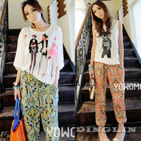 Cheap New Pinup Korean Women Clthing Multicolor Printed Retro Vintage Palazzo Casual Chiffon Pants Trousers Size S Free Shipping 0571