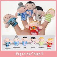 Cheap (6pcs set) Brand New Happy Family Members Plush Finger Puppets Baby Cute Dolls for Children Story Telling Educational Toys Gift