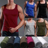 Wholesale 2014 Summer Men Fitness Tank Tops Men s Sport Tank Top Undershirt Slim Fit Cotton Trend Candy Color Bottoming Vest