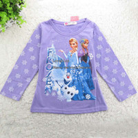 Wholesale Frozen Elsa Girl Dress Children Clothes Kids Clothing Long Sleeve T Shirt Girls Shirt Children T Shirts Cotton Shirts Child Shirt Kids Shirt