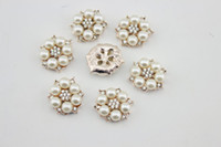 Cheap 2014 Hot sale gold-plated pearl alloy button hair bow rhinestone button flat back embellishment DIY hair accessory 30pcs lot