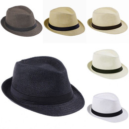 Fashion Unisex Trilby Gangster Straw Hat Summer Beach Hats Panama Sun Cap A Hat For Men Women