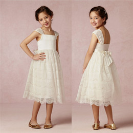 2019 Bhldn Custom Made Tea-Length Ruffled Skirt Sleeve Ivory Lace Spaghetti Tiers Pleated Lovely Flower Girls' Dresses