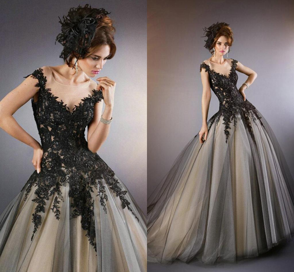 Gothic Wedding Dresses Black Lace Appliques With Champagne