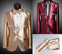 Bright Men' s Suits 2014 free shipping One Button Red Go...