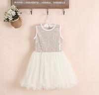Summer ballet sleeves - baby girl kids sequin dress sequins dress flower tutu dress floral tutu dress vest jumper princess costumes pettiskirt fluffy lace ballet