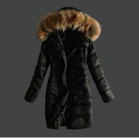 Wholesale NEW high quality women down jackets long with fur collar Goose down parkas khaki black lady down coats