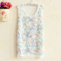 Cheap Spring summer wild hollow wide Songlei Si Korean Floral Lace Vest Women really making a small sling