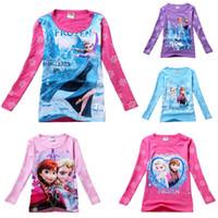 Cheap Girls Cartoon Frozen T-shirt Cute Anna Elsa Pattern Long Sleeve Tees Children Kids T Shirt Spring Autumn Clothing Free Drop Ship