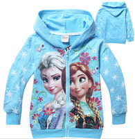 Wholesale low price Spring autumn color Frozen Baby Girls Yrs Elsa Anna Princess Olaf Hoodie Long Sleeve ZIP Hoodies outwears clothes