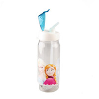 Wholesale Children Cup Cartoon Frozen Elsa Anna PP Texture Suction Cup with Drinking Straw Water Bottle via DHL