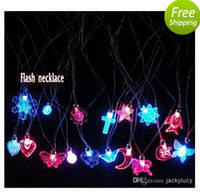 Wholesale Discount LED Glow Necklace Flash Crystal Pendant For Kids Game Toys Birthday Christmas Toy Supplies
